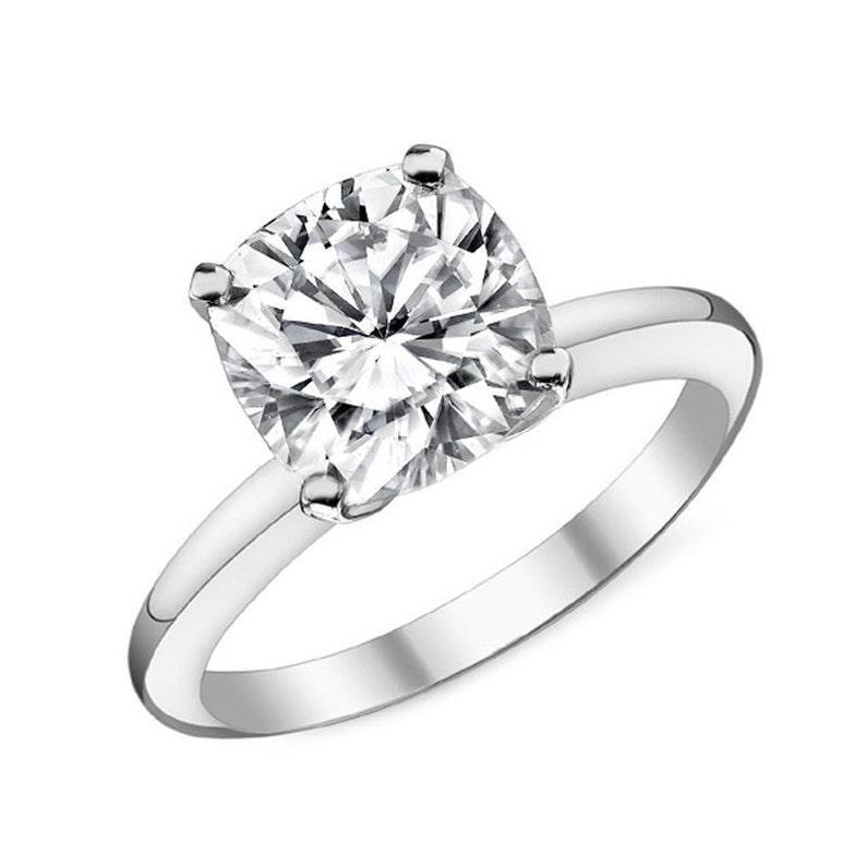 14k Solid Gold Cushion Cut Engagement Ring Cz Engagement Ring Cubic Zirconia Engagement Solitaire Bridal 2 Carat Wedding Ring