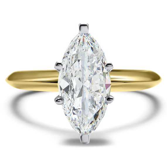 1.5 Ct Marquise Cut Solitaire Diamond Engagement Ring in Solid 14K Yellow Gold
