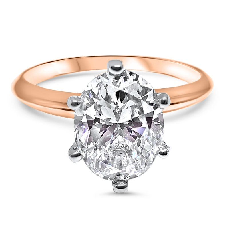 40190fd080fe7 2 carat, 3 carat 3.5 carat Rose Gold 6 Prong Oval CZ engagement Ring -Cubic  Zirconia Engagement ring 6 prong solitaire ring