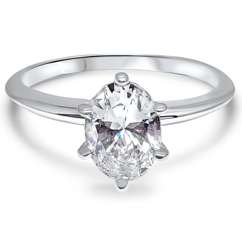 a1aa678aedd73 14k White Gold Oval Forever ONE 6 Prong Moissanite solitaire engagement  ring 1 carat 1.5 carat 2.0 carat- Charles and Colvard classic ring