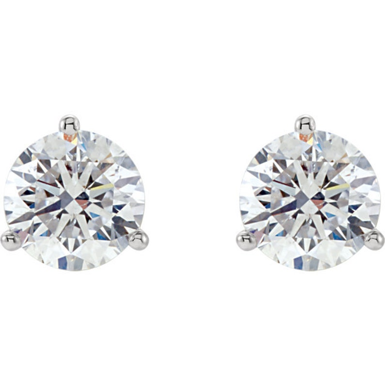 0a4d627cdfd127 14k Gold CZ Cubic Zirconia 3 prong martini stud earrings 14k