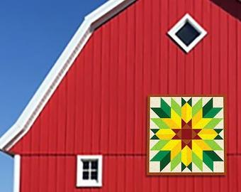 """Sunflower Star Outdoor BARN QUILT __ 24"""", 35"""", 48"""", 70"""" __ Flexible Aluminum"""