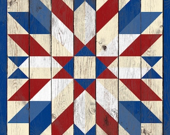 """Red White & Blue Sunflower Star Quilt with weathered barn wood effect _ 24"""" or 35"""" _ Printed vinyl on aluminum panel"""