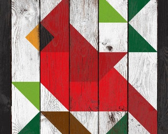 """Cardinal Block Quilt with weathered barn wood effect _ 24"""" or 35"""" _ Printed vinyl on aluminum panel"""