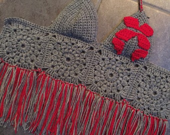 EXCISION Granny Square Halter with Fringe! Size 34/36 B