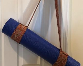 Yoga Mat Strap - Burnt Orange and Rainbow