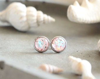 10 mm stainless steel gold base Rivage stud earrings summer jewel pink seed beads with brilliant relief beach style for women