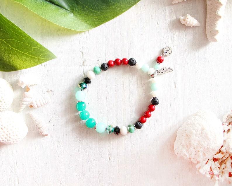 Melon Punch bracelet elastic wire beads yellow cream image 0