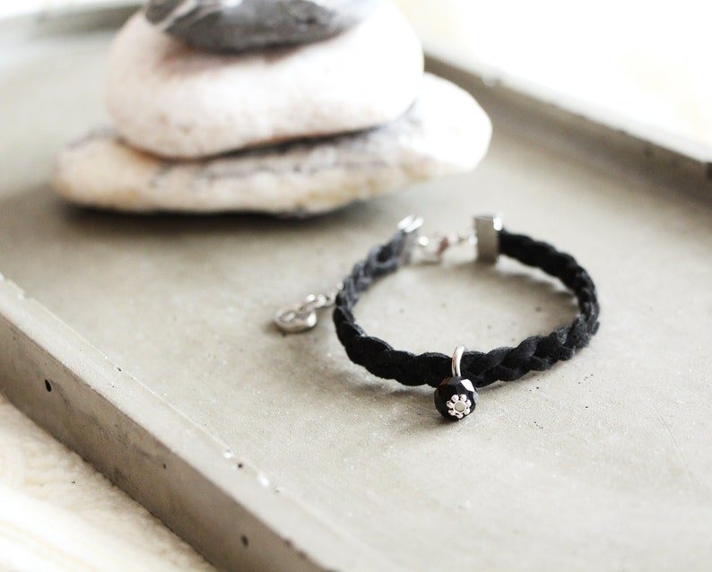 Bracelet New York braided black suede bracelet black bead image 0