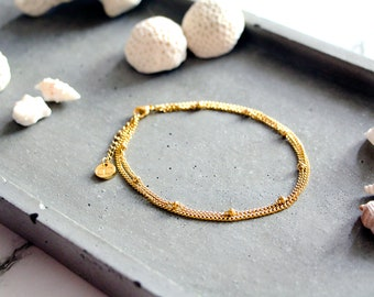 Azul golden anklet, golden chains, stainless steel, beach style, summer jewelry, for women
