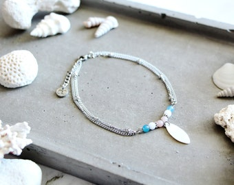 Brise anklet chain, bleu, white, pink beads, stainless steel chain, summer jewel, beach style, for women