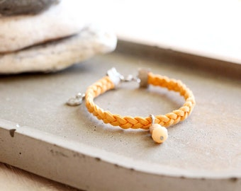 Bracelet Doha, braided cream orange suede bracelet, peach bead charm, stainless steel, travel inspiration, for women