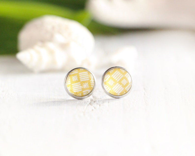 Palapa stud earrings yellow graphic pattern 10 mm stainless image 0