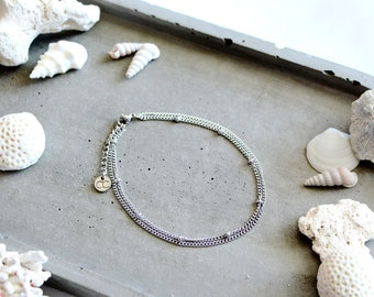 Azul silver anklet, silver chains, stainless steel, beach style, summer jewelry, for women