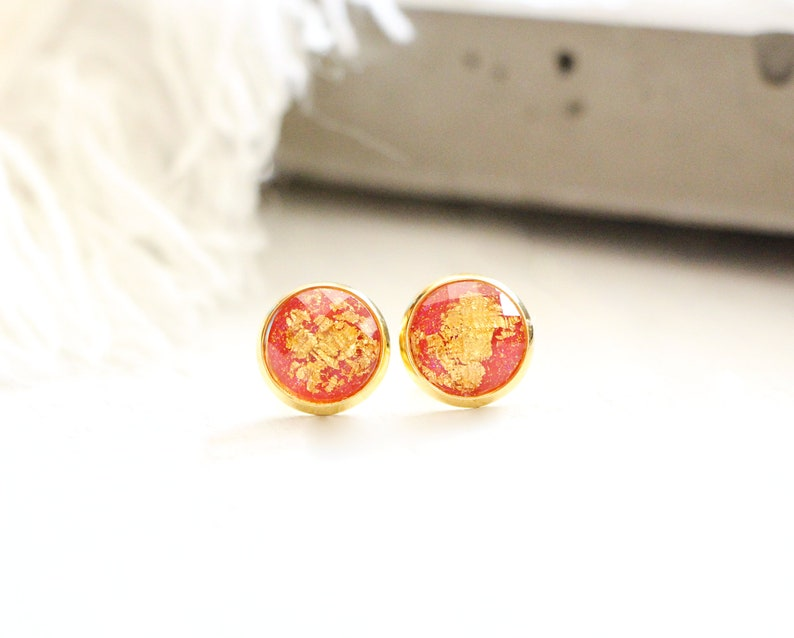 Volcano stud earrings shiny red with gold leaf 10mm image 0