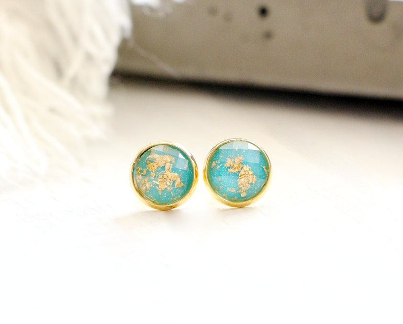 Ocean stud earrings shiny blue with gold leaf 10mm stainless image 0