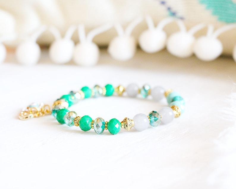 Abu Dhabi bracelet elastic wire beads gree emerald grey image 0
