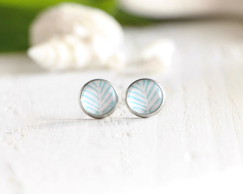 Azure stud earrings blue graphic pattern 10 mm stainless image 0