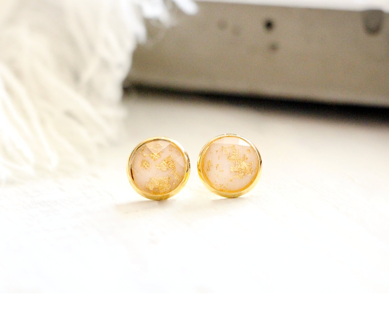 Glacier stud earrings shiny white with gold leaf 10mm image 0