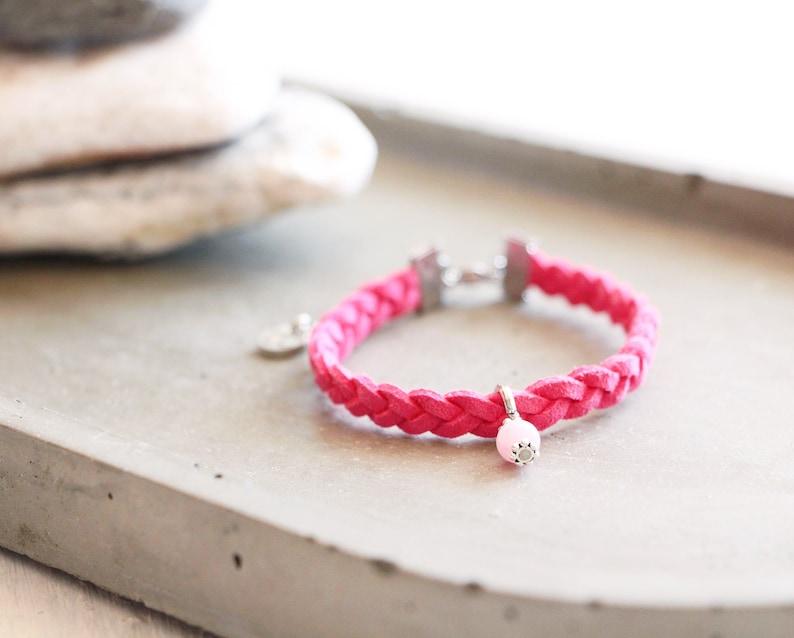 Bracelet Bahamas braided fuchsia suede bracelet pink pearl image 0