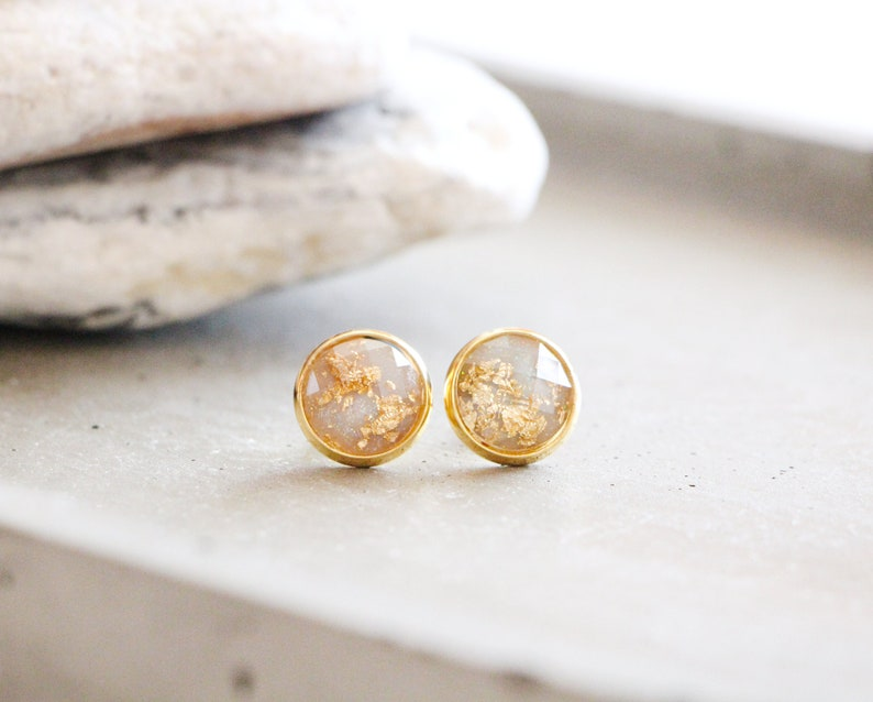 Canyon stud earrings shiny red with gold leaf 10mm stainless image 0