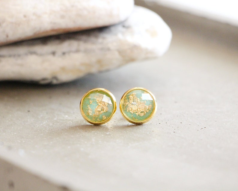 Valley stud earrings shiny mint green with gold leaf 10mm image 0