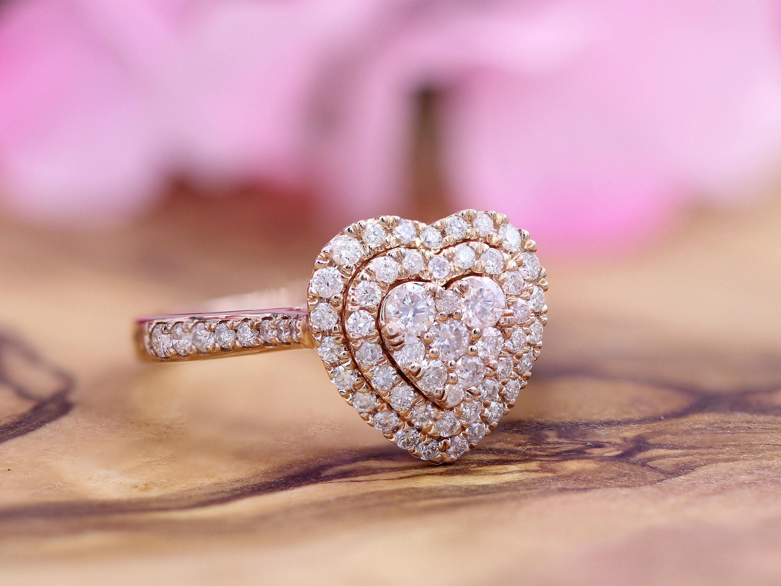 Diamond Heart Ring Heart Shape 14K Rose Gold Diamond Heart | Etsy