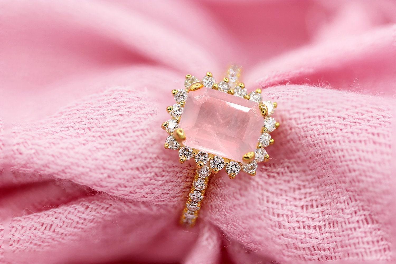2.00ct Emerald Cut Pink Quartz Rose Gold Diamond Halo | Etsy