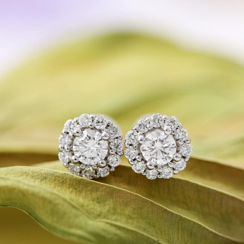 c5ac2adf3b2fb 1.00ct.tw Diamond Halo Stud Earrings, 14K White Gold Screw Back Earrings,  Diamond Stud Earrings, Diamond Halo