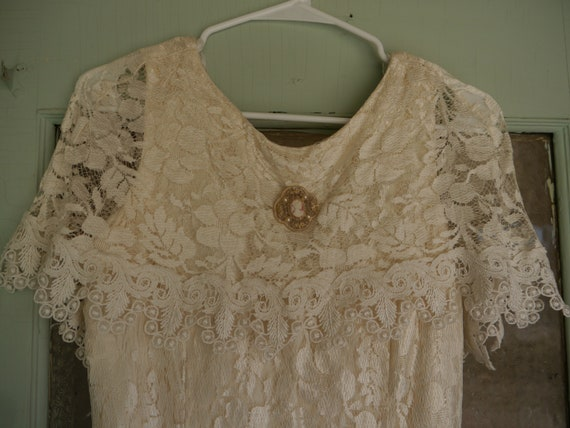 80s Does 20s Vintage Betsy & Adam Lace Dress