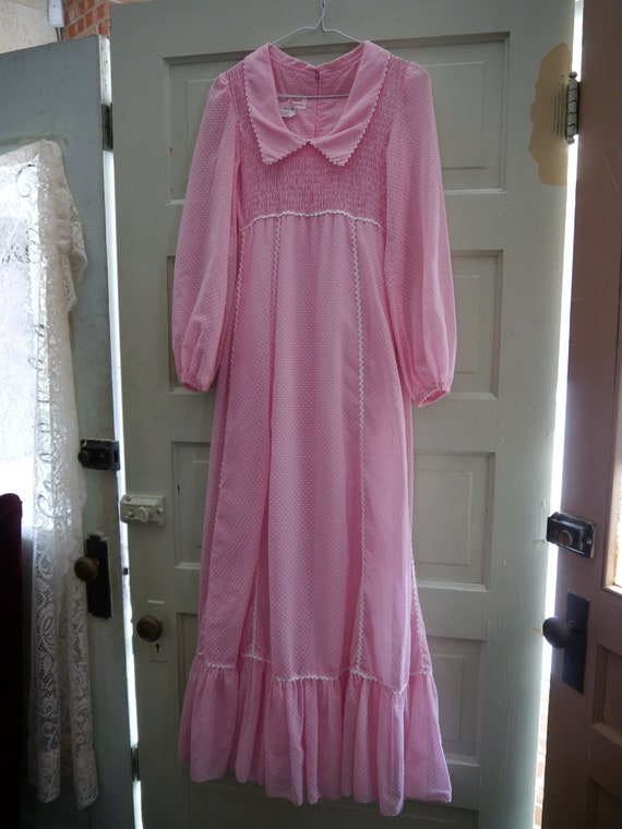 Candi Jones Vintage Pink 1970s Dotted Swiss Maxi B