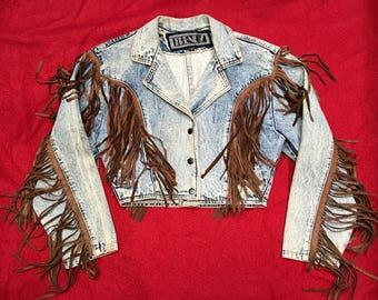 1980's Cropped Denim Jacket With Fringe - Small