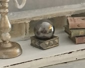 Miniature Glass Orb and Base in Reimagined Gustavian Decor for a Dollhouse 1 12 Scale