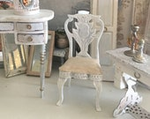 Miniature Chair for a Boudoir, Parlor, Vanity or Desk in Reimagine Gustavian Style for a Dollhouse 1 12 Scale