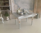 Miniature Reimagined Gustavian Dining Table for a Dollhouse 1 12 Scale