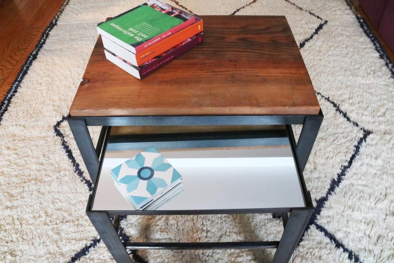 Nesting Coffee Tables Reclaimed Wood Steel Stackable Etsy