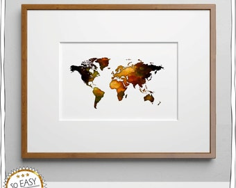 World map, world, image, Earth, water color, brown, with gift tag, make picture yourself, instant download, worldview, globe, card, travelers
