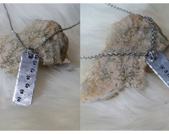 Hand Stamped 2-sided Pendant Wanderer on one side, PAW PRINTS on Reverse