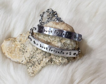 2 Best Friends ID Bar Bracelets Custom Hand Stamped Aluminum with Stainless Steel Personalized Friendship Bracelets