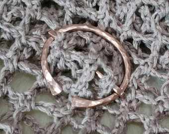 COPPER Penannular Brooch Scarf Shawl Cloak Pin Hand wrought heavy solid Copper