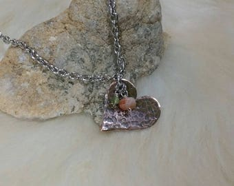 Copper Heart Hand stamped Necklace Pendant with Peach Moonstone and Peridot Charm Valentine's