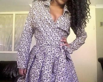 African material    Wrap top  with bubble skirt