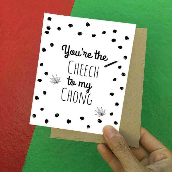 Cheech And Chong Weed Card Cannabis Card Stoner Card Happy Etsy