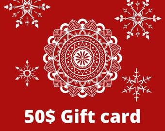 Electronic gift certificate for wife, 50 USD Gift E-Card for Christmass, Last minute present, Surprise Gift for wife