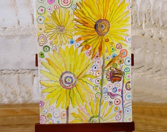 Floral Sunflower blank greetings cards from original paintings by Ofrily. Blank floral card suitable for any occasion