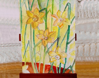 Dafodils Floral blank greetings cards from original paintings by Ofrily. Blank floral card suitable for any occasion