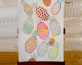 Pineapple blank greetings cards from original paintings by Ofrily. Blank card suitable for any occasion