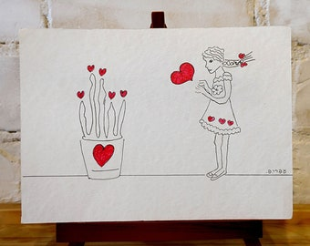 Hearts Card - Blank Greeting Cards,Printed Notecards with a Handmade Envelope