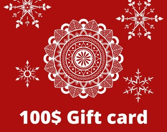 Electronic gift certificate for wife, 100 USD Gift E-Card for Christmass, Last minute present, Surprise Gift for wife