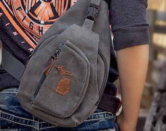 Michigan toile ciré et cuir bandoulière sac bandoulière, sac en toile ciré, ciré toile, idées cadeaux, idées cadeaux pour lui, d'anniversaire garçon ADO